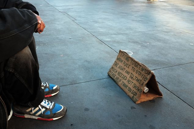 A sign belongling to a homeless man and asking for money sits on the street on November 20, 2015 in New York City. New York City Police Commissioner William Bratton said on Thursday that homelessness in New York City had 'exploded' over the past two years. Currently around 58,000 people are in the city's homeless shelters, a number which is up from the administration of Mayor Michael Bloomberg.