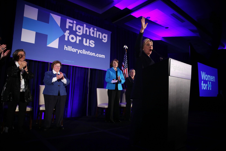 WASHINGTON, DC - NOVEMBER 30: Democratic presidential candidate Hillary Clinton (R) speaks as (L-4th L) Sens. Barbara Boxer (D-CA), Barbara Mikulski (D-MD), Dianne Feinstein (D-CA), and Patty Murray (D-WA) listen during a 'Women for Hillary' fundraiser November 30, 2015 in Washington, DC. All 14 Democratic women senators, except Sen. Elizabeth Warren (D-MA) have endorsed Hillary Clinton to run for the President of the U.S.