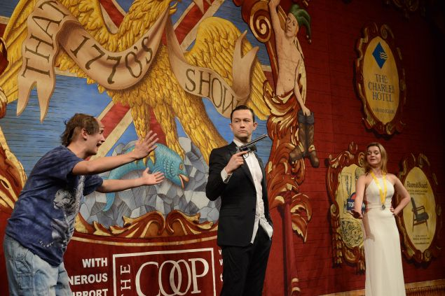 """Joseph Gordon-Levitt performs in skits with Hasty Pudding Theatricals, including """"That 1770's Show."""""""