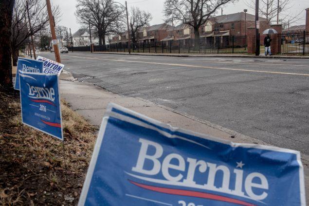 Sen. Bernie Sanders campaign signs in Tennessee.