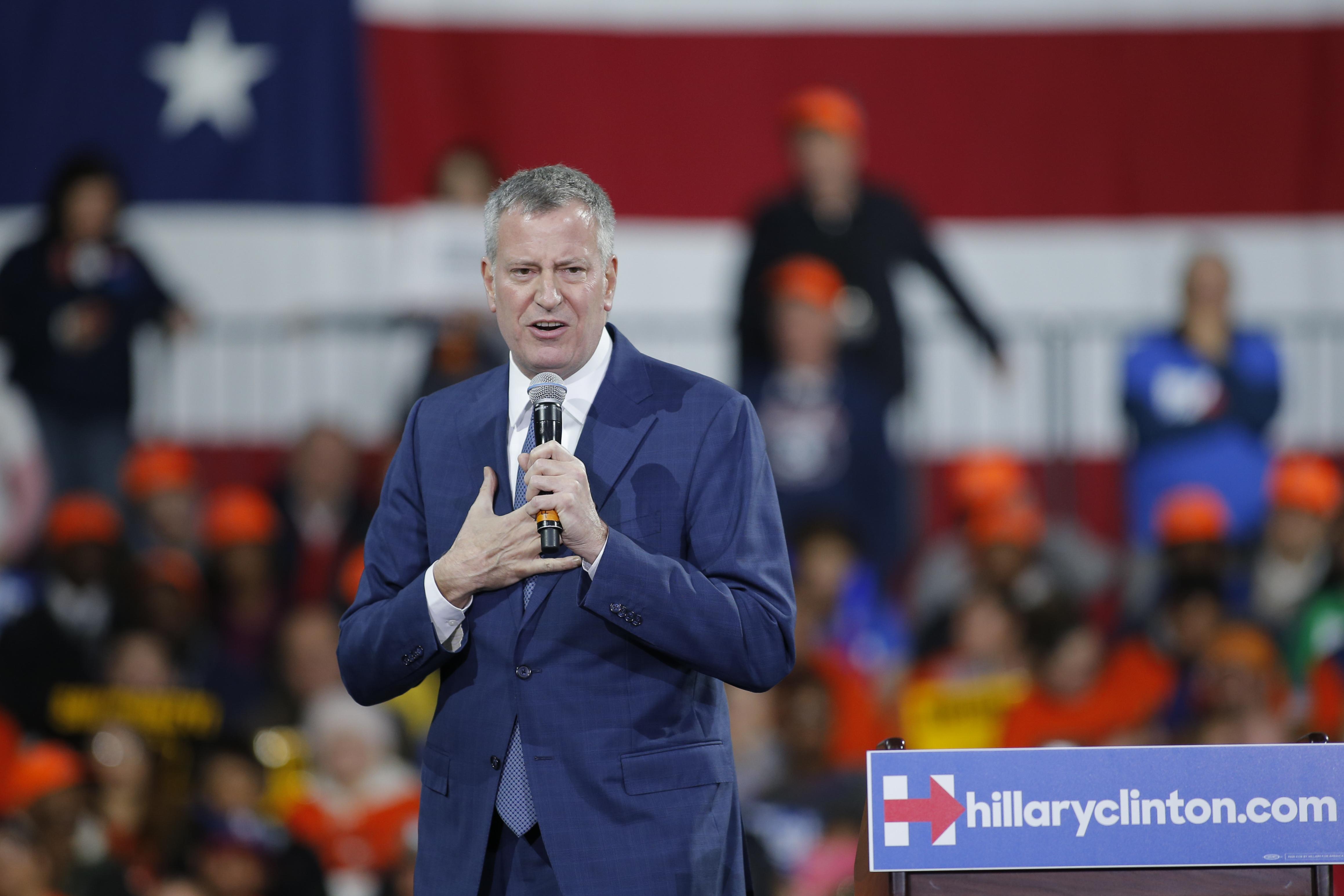 Mayor Bill de Blasio at a Hillary Clinton rally this month.