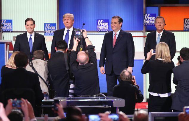 Sen. Marco Rubio (R-FL), Donald Trump, Sen. Ted Cruz (R-TX), and Ohio Gov. John Kasich. (Photo by Scott Olson/Getty Images)