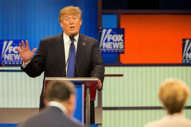 Republican Presidential candidate Donald Trump speaks during the Republican Presidential Debate in Detroit, Michigan, March 3, 2016.