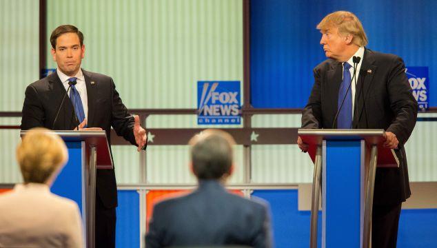 Republican Presidential Candidates Marco Rubio (L) and Donald Trump spar during the Republican Presidential Debate in Detroit, Michigan, March 3, 2016.