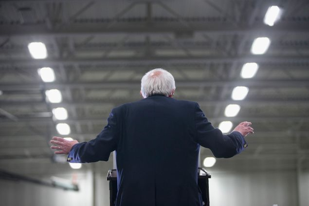 Democratic presidential candidate Senator Bernie Sanders speaks to guests during a rally at Macomb Community College on March 5, 2016 in Warren, Michigan. Voters in Michigan will go to the polls on March 8 to vote in their state's primary.