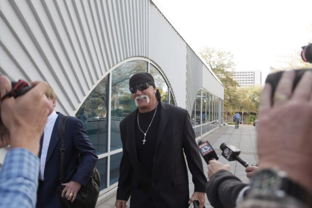 Terry Bollea, aka Hulk Hogan, arrives in court for day two of his case against the website Gawker at the Pinellas County Courthouse Tuesday morning Mach 8, 2016 in St. Petersburg, Florida. Bollea is suing Gawker for $100 million for publishing a video of him having sex with his best friend's wife.