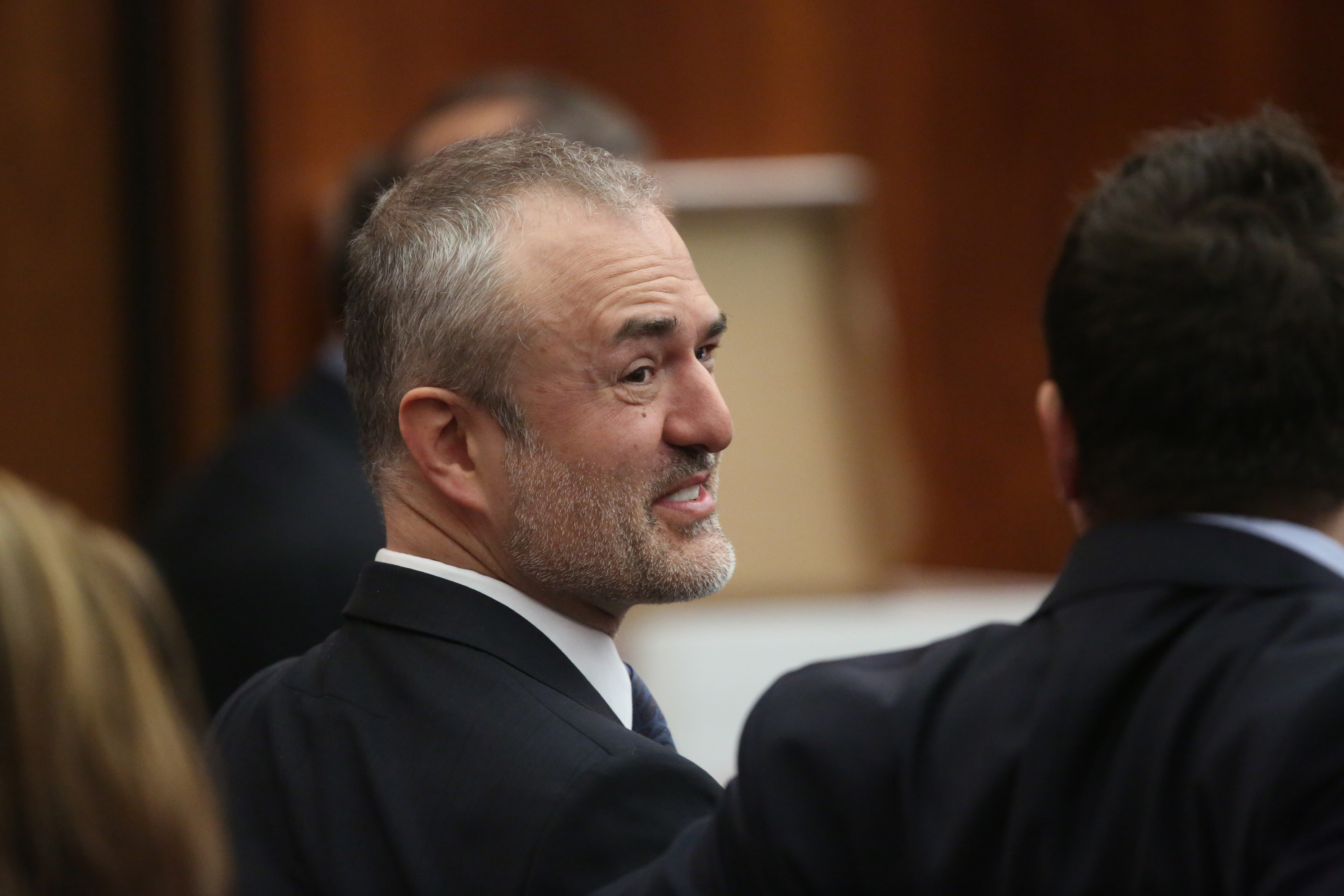 Nick Denton, founder of Gawker, talks with his legal team before Terry Bollea, aka Hulk Hogan, testifies in court during his trial against Gawker Media at the Pinellas County Courthouse on March 8, 2016