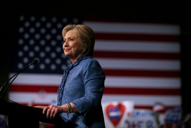 Democratic presidential candidate former Secretary of State Hillary Clinton speaks during her primary night gathering on March 15, 2016 in West Palm Beach, Florida. Hillary Clinton defeated rival U.S. Sen Bernie Sanders in the Florida, Ohio and North Carolina primaries.