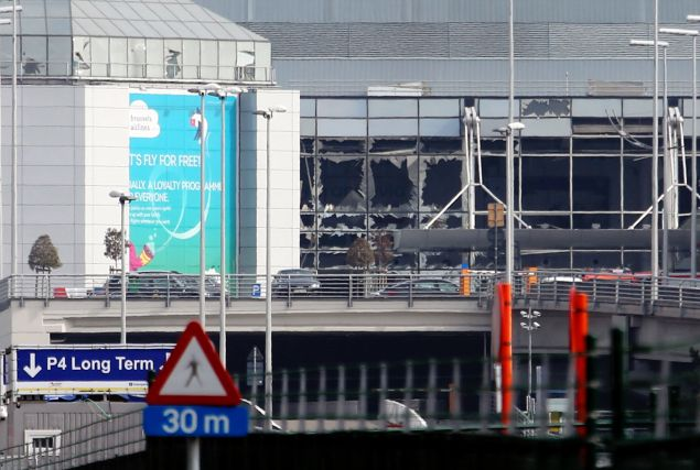 A view of bomb damage as passengers are evacuated from Zaventem Bruxelles International Airport after a terrorist attack in Brussels, Belgium today. (Photo by Sylvain Lefevre/Getty Images)