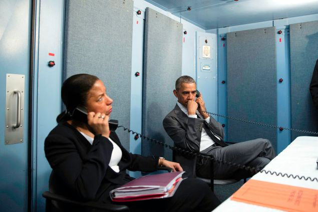 In this handout photo provided by the White House, President Barack Obama and National Security Advisor Susan Rice talk on the phone with Homeland Security Advisor Lisa Monaco to receive an update on a terrorist attack in Brussels, Belgium on March 22, 2016 in Havana, Cuba. The President made the call from the residence of the U.S. Chief of Mission in Havana.