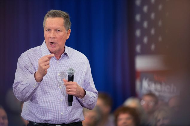Republican presidential candidate Ohio Gov. John Kasich speaks at a campaign rally at the Crowne Plaza Milwaukee West hotel on March 23, 2016 in Wauwatosa, Wisconsin. Voters in Wisconsin go to the polls on April 5 to select their partys presidential nominee.