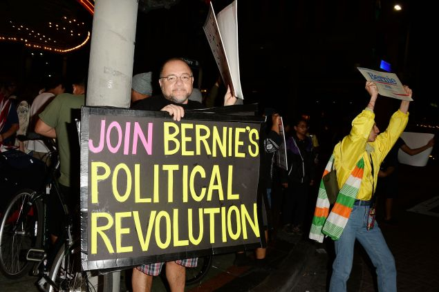 Supporters of Democratic presidential candidate Sen. Bernie Sanders gather before his rally at The Wiltern Theatre on March 23, 2016 in Los Angeles, California.