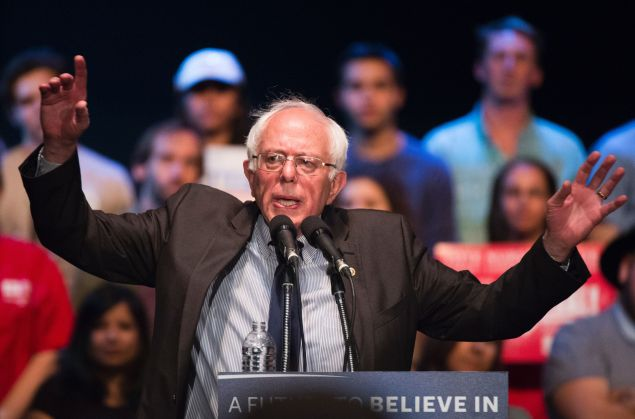 Democratic presidential candidate Bernie Sanders speaks at a campaign rally, March 23, 2016 at the Wiltern Theater in Los Angeles, California.