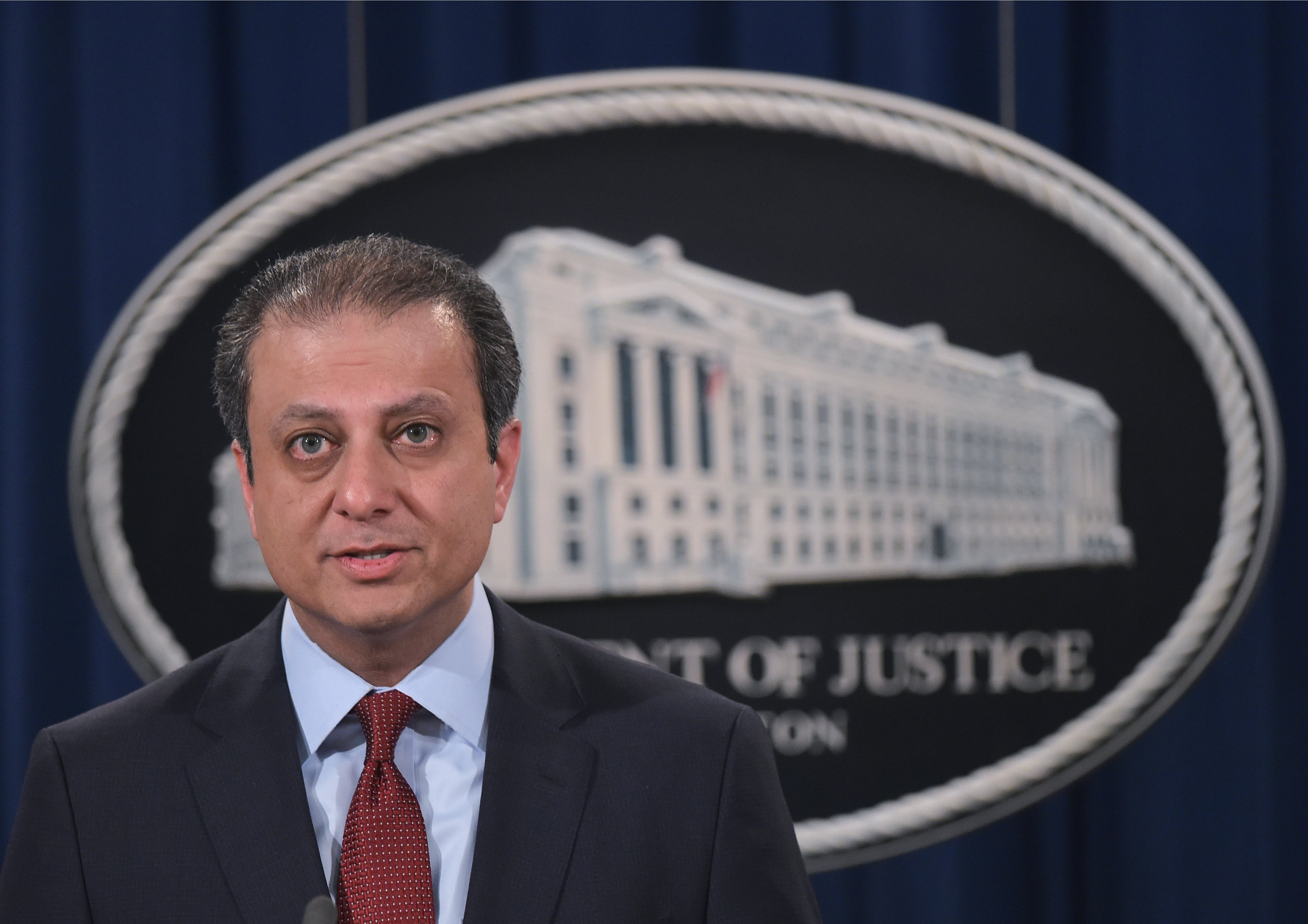 US Attorney of the Southern District of New York Preet Bharara speaks during a press conference today.