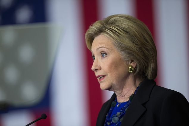 Democratic presidential candidate Hillary Clinton speaks to guests gathered for a campaign rally at the University of Wisconsin-Madison on March 28, 2016 in Madison, Wisconsin. Voters in Wisconsin go to the polls April 5 for the state's primary.