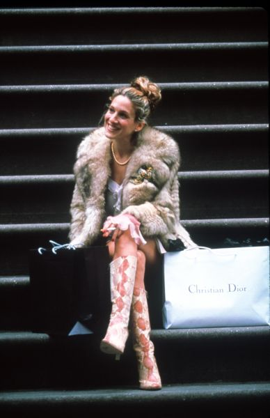 """384168 02: Actress Sarah Jessica Parker (Carrie) acts in a scene from the HBO television series """"Sex and the City"""" third season, episode """"Where There's Smoke""""."""