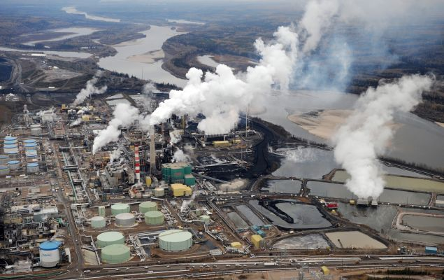 Aerial view of the Suncor oil sands extraction facility near the town of Fort McMurray, Alberta.