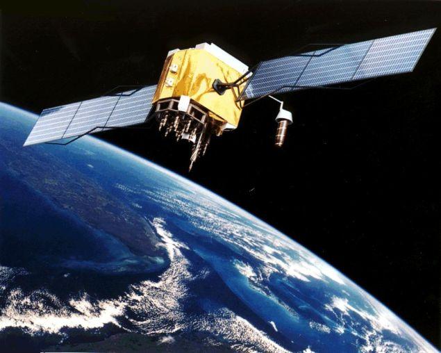 A military satellite in orbit.