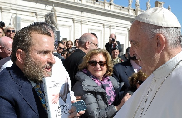 The author, Rabbi Shmuley Boteach, presents Pope Francis with a copy of his book 'Kosher Jesus' at the Vatican earlier this week.