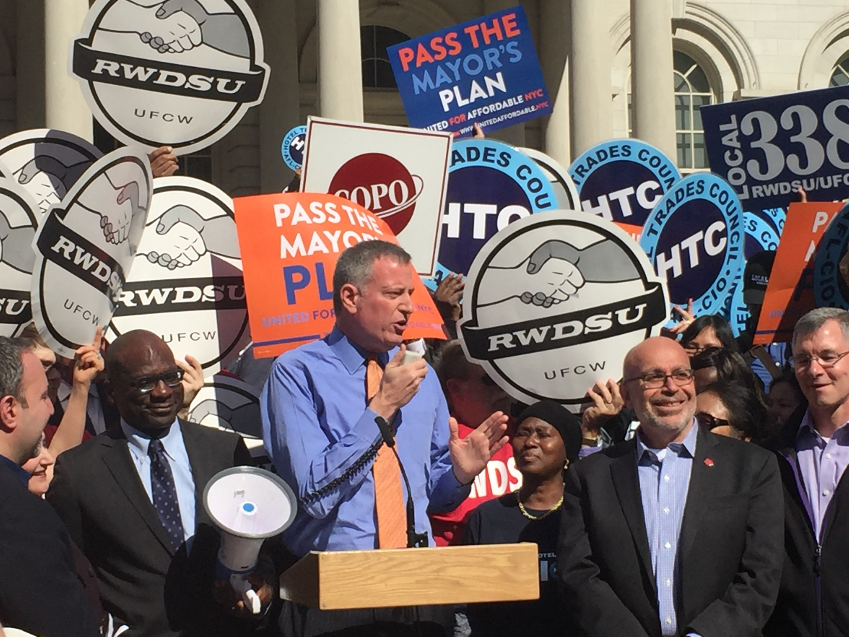 Mayor Bill de Blasio rallies for his affordable housing plan.
