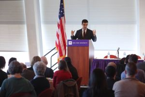 Council Member Ydanis Rodriguez announcing the initiative at NYU on Wednesday.