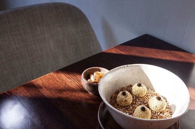 Take Root's Lamb neck and sunchoke croquette encrusted in toasted millet with black garlic and pickled crosnes