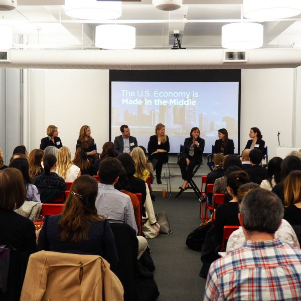 The Women in Tech panel, held at the Axial headquarters in the Flatiron District. (Photo: Peter Nguyen, Axial)