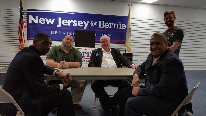 Brendel, third from right, pictured earlier this year, worked for Hart in 1984 - and for Bernie Sanders in 2016.