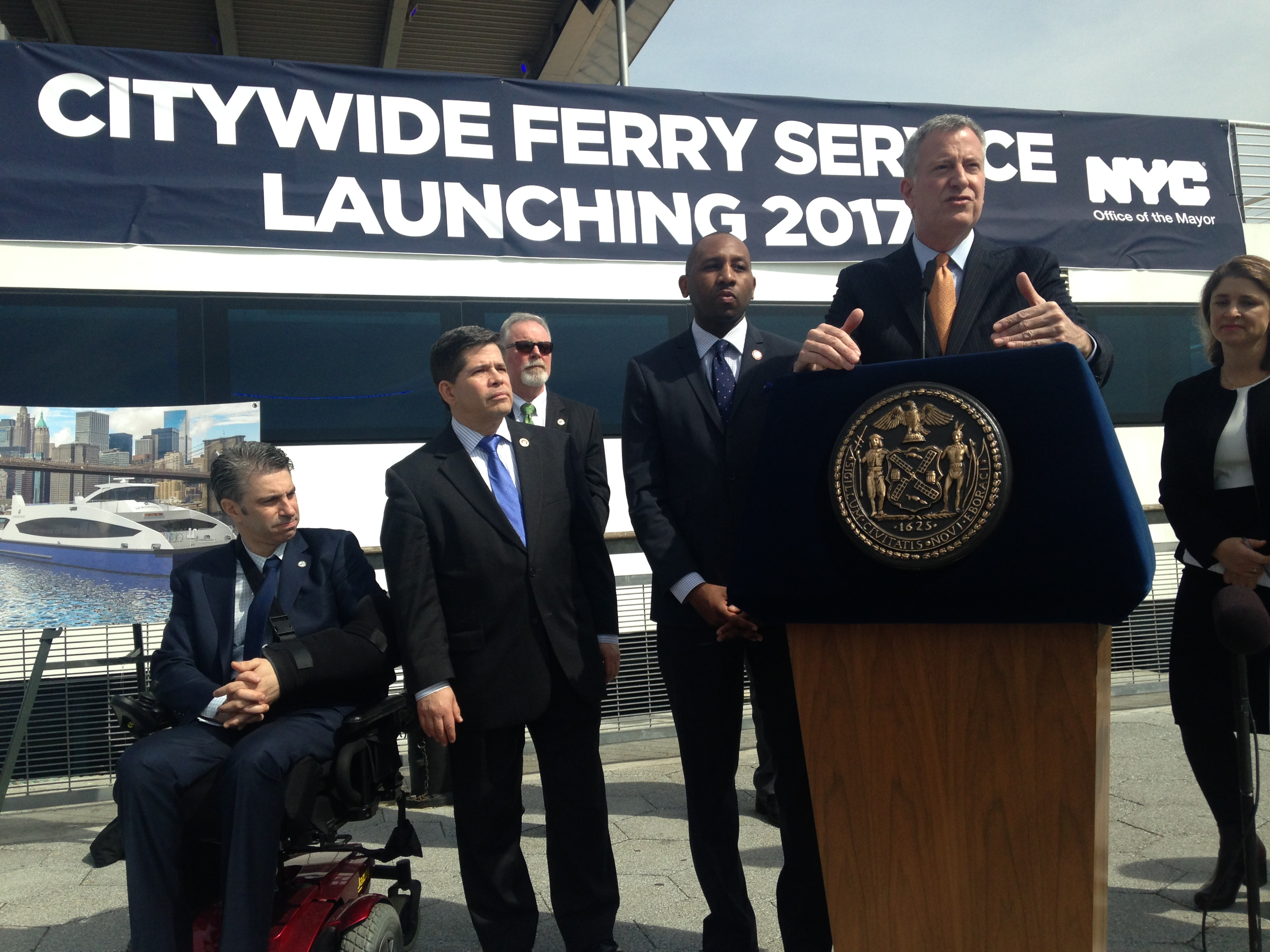Mayor Bill de Blasio with other city officials.