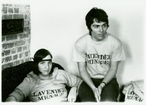 Rita Mae Brown with an unidentified woman in Lavender Menace tee shirts, 1970.