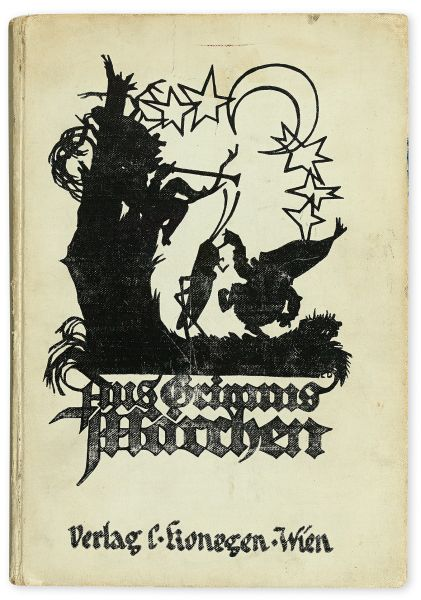 The cover of Anne and Margot Frank's copy of Grimm's Fairy Tales (Aus Grimms Märchen), Signed and Inscribed by Anne Frank, with Margot Frank's ink owner stamp, Vienna, 1925, inscription Amsterdam, circa 1940. Estimate $20,000 to $30,000.