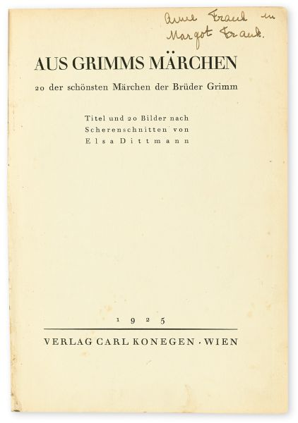 Frank's autograph, along with her sister Margot's name can be found inside the book.