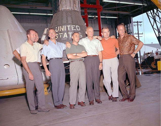 """The """"Mercury Seven"""": From left, Gordon Cooper, Walter Schirra, Alan Shepard, Virgil Grissom, John Glenn, Deke Slayton and Scott Carpenter."""