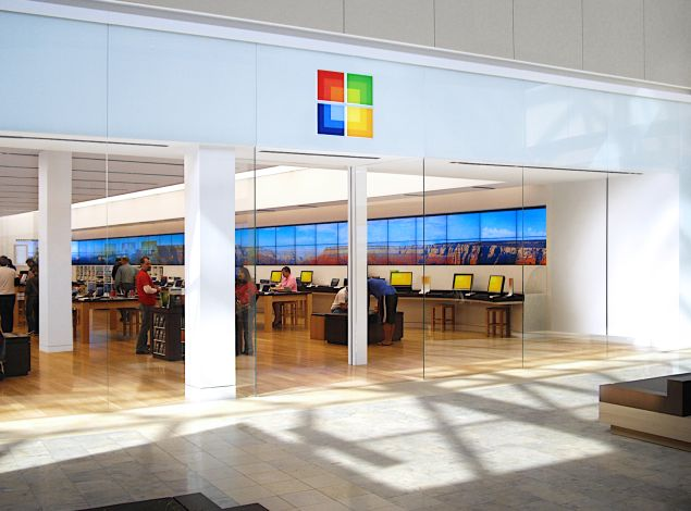 Exterior of a Microsoft store.