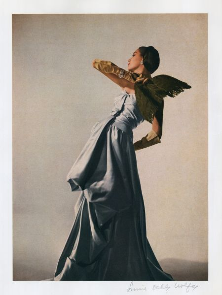 Model Betty Threat in a Charles James evening dress, color proof, featured in Harper's Bazaar, April 1947. Photograph by Louise Dahl-Wolfe. Collection of The Museum at FIT, © 1989 Center for Creative Photography, Arizona Board of Regents.