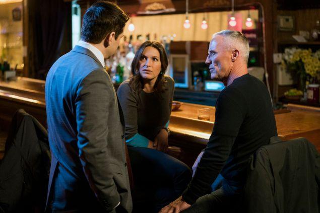 Mariska Hargitay as Olivia Benson and Robert John Burke as Capt. Ed Tucker.