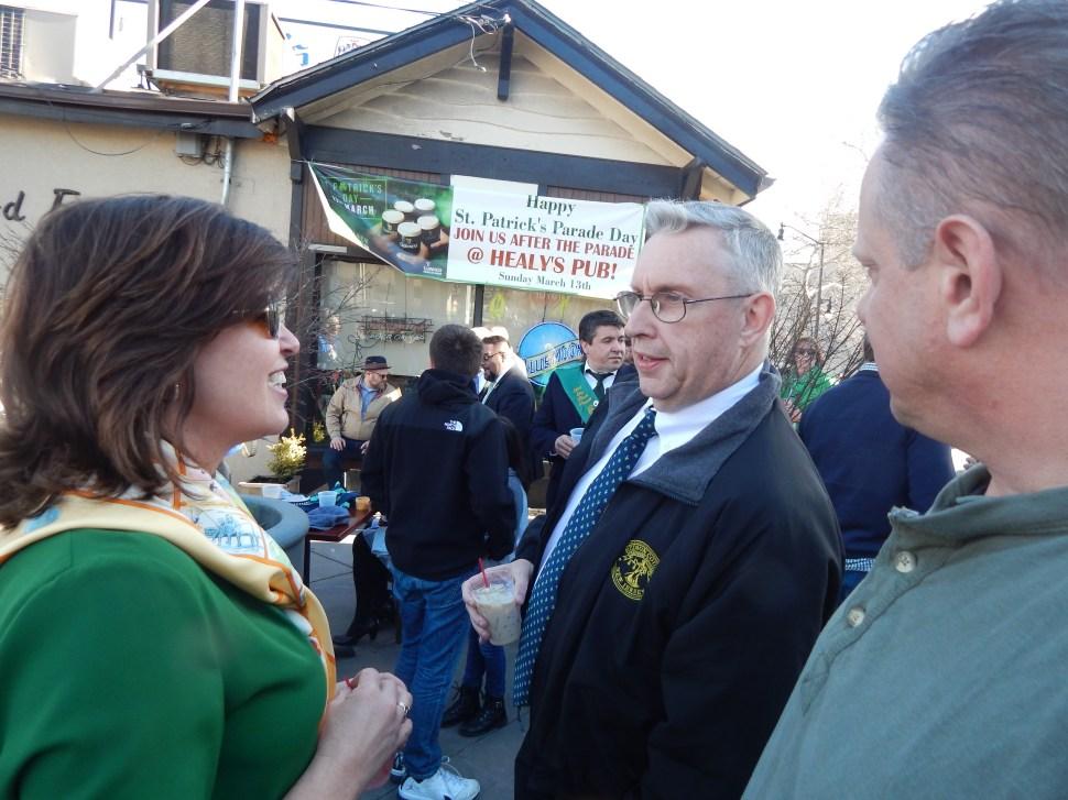 Hudson County Freeholder Bill O'Dea regales Karen Mastriano with his LBJ impression.
