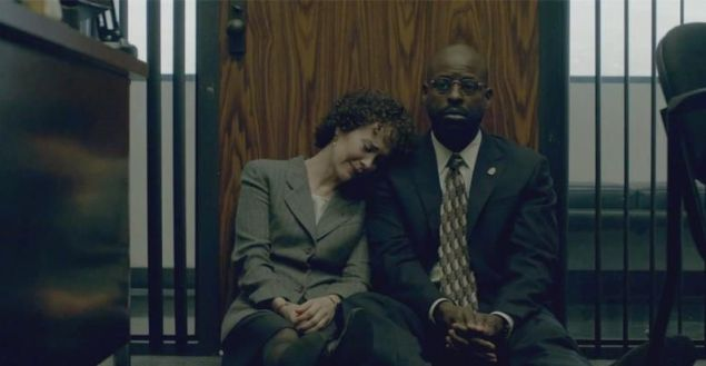 Crushin' it: Sarah Paulson as Marcia Clark and Sterling K. Brown as Chris Darden on American Crime Story. (FX)