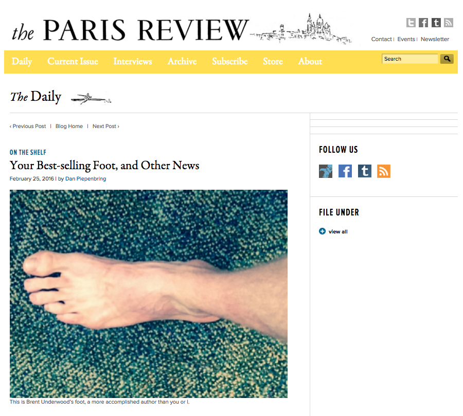 Putting My Foot Down featured in The Paris Review.