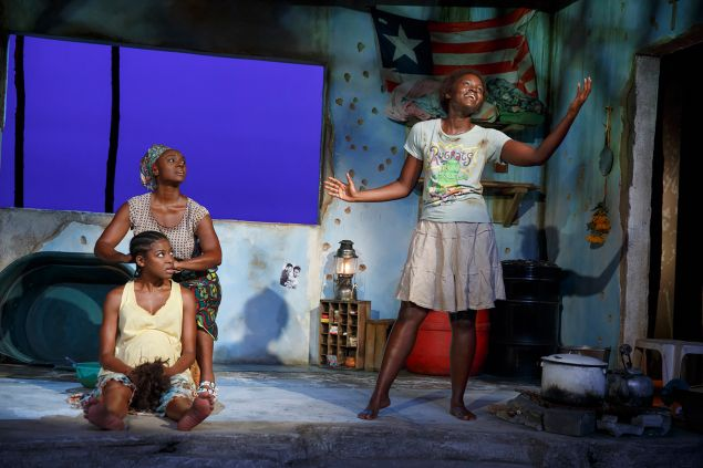 Pascale Armand, Saycon Sengbloh and Lupita Nyong'o in a scene from Eclipsed. All three actors received Tony nominations, and the show received six in all.