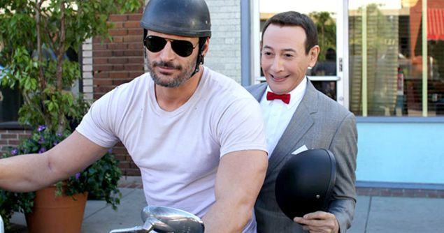 Joe Manganiello and Paul Reubens in Pee-Wee's Big Holiday.