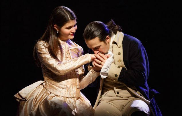 Phillipa Soo and Lin-Manuel Miranda as Elizabeth and Alexander Hamilton.