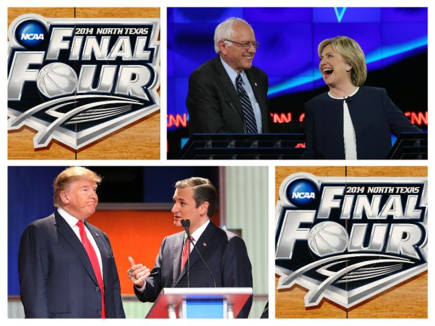 Bernie Sander, Hillary Clinton, Donald Trump, Ted Cruz.
