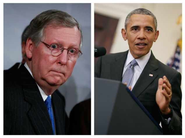 Mitch McConnell (L) and President Barack Obama (R).