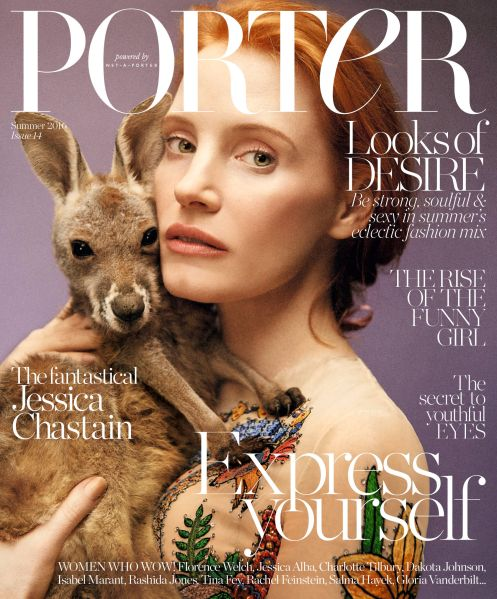 Jessica Chastain on the cover of 'Porter'