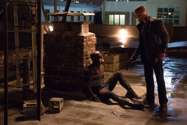 Charlie Cox as Matt Murdock and Jon Berthal as Frank Castle in Marvel's Daredevil.