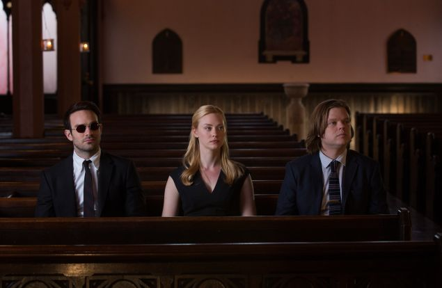 Charlie Cox, Deborah Ann Woll and Elden Henson in Marvel's Daredevil.