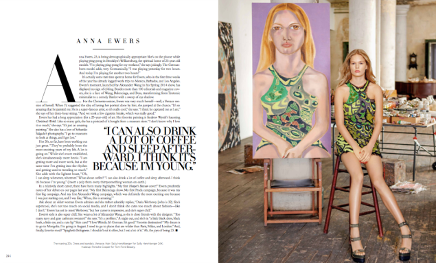 Part of the 10-page spread featuring portraits by Francesco Clemente in this April's Harper's Bazaar.