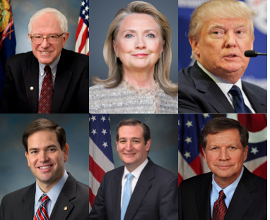 The remaining presidential candidates on March 15, 2016.
