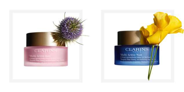 Clarins Multi-Active Day All Skin Types, $53, Multi-Active Night Normal to Combination Skin, $56, Clarinsusa.com